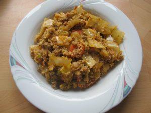 Weißkohlpfanne mit Couscous