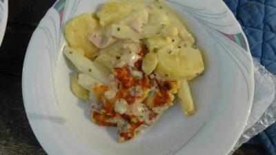 Spargelauflauf mit Kartoffeln und Schinken