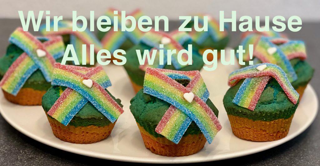 Regenbogen Muffins - Wir bleiben zu Hause - Alles wird gut - Bleibt gesund - Rezeptfamilie