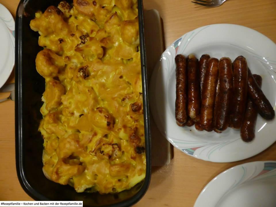 Blumenkohl mit Curry und Rostbratwürstchen - Rezeptfamilie - Kochen - Auflauf - Würstchen - Blumenkohl - a