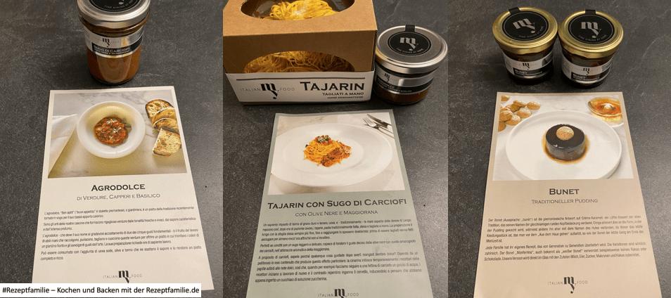 ItalianMyFood - Tajarin con Sugo di Carciofi con Olive Nere e Maggiorana - Agrodolce di Verdure Capri e Basilico - Bunet traditioneller Pudding - Foodboxen mit Menüs aus der Region Piemont - getestet von der Rezeptfamilie