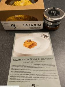 ItalianMyFood - Tajarin con Sugo di Carciofi con Olive Nere e Maggiorana - Foodboxen mit Menüs aus der Region Piemont - getestet von der Rezeptfamilie