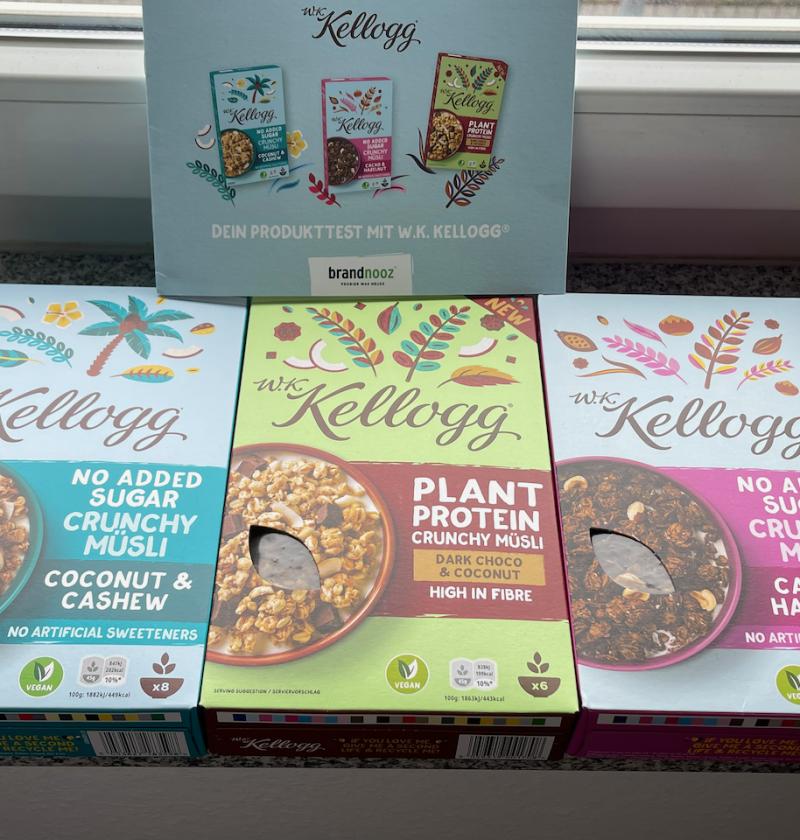 Produkttest brandnooz - neue W.K. Kellogg® Müslis | Dark Choco & Coconut - Cacao & Hazelnut - Coconut & Cashew - Rezeptfamilie