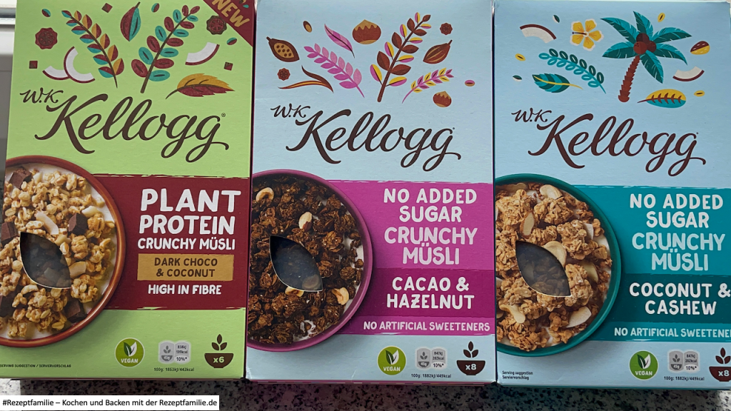 Produkttest von brandnooz - neue W.K. Kellogg® Müslis | Dark Choco & Coconut - Cacao & Hazelnut - Coconut & Cashew - Rezeptfamilie